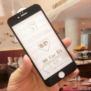 Cubierta de cristal templada 5D cubierta completa a prueba de explosiones de la pantalla completa 9H para la película del protector de la pantalla del iphone x para el iPhone 8 más 7 6 6s