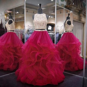 Hot Pink Two 2 Pieces Quinceanera Dresses Ball Gown Beaded Crystal Tulle Debutante Gowns 15 Years Dresses Masquerade Gowns 2020 Real