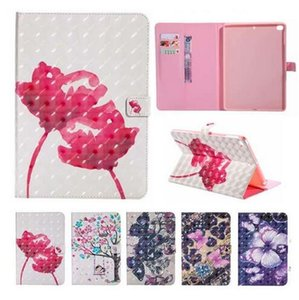 Flower butterfly Wallet Card Holder Stand PU Leather Smart Case for iPad 5 6 8 9.7 2017 2018 Mini 123 4 Samsung Tab S4