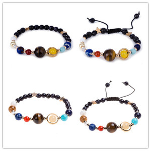 2018 Bracelet Universe Galaxy the Eight Planets in the Solar System Guardian Star Natural Stone Beads Bracelets Bangle for Women Men