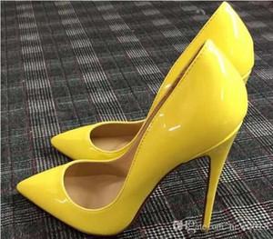2018 여자 블랙 양모 누드 특허 가죽 Poined 발가락 여성 펌프, 120mm 패션 레드 하단 여자 신발 높은 발 뒤꿈치 신발 결혼식 신발