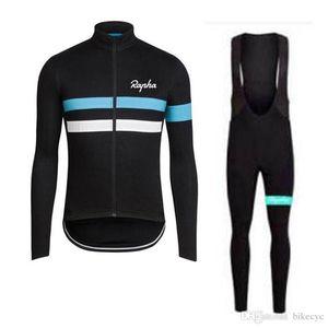 RAPHA squadra ciclismo manica lunga jersey (bavaglino) pantaloni set mens quick dry ropa ciclismo MTB Bike abbigliamento da corsa usura Y053001