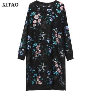 [XITAO] 2018 Europa primavera nueva moda mujeres estampado floral ahueca hacia fuera el vestido femenino O-cuello manga completa hasta la rodilla vestido XWW3222
