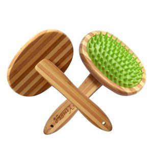 Cepillo de champú para baño para mascotas, masaje suave Cepillo de bambú con cabeza de silicona para cabello largo y corto Mascotas Perros Gatos