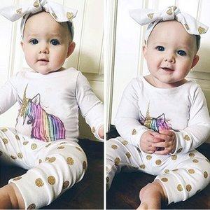T-shirt a maniche lunghe in cotone Unicorno per ragazze + Pantaloni Dot Prin + Fascia per capelli 3pz Set pigiama Vestiti neonato Abiti Tuta infantile Primavera