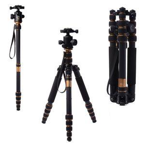 Q666C Professional Carbon Fiber Tripod For SLR Camera   Portable Traveling Tripod + Head   Monopod Changeable   Max Loading 15Kg