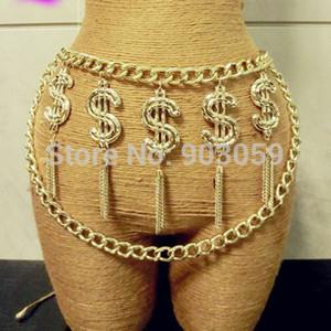 Nuevo Punk Metal Chain Belt Exagerado Dólar bañado en oro con cinturón de borla para Mujeres Hombres S18101806