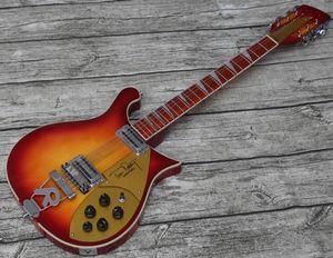 Neck Thru Body RIC 660 12 String Cherry Sunburst Fire glo Tom Petty Electric Guitar, Gloss Varnish Red Fingerboard, Checkerboard Binding