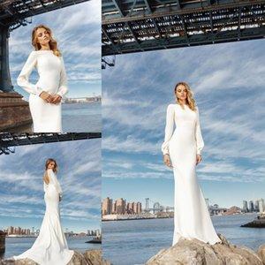 Eva Lendel 2019 Mermaid Beach Vestidos de novia Satin Mangas largas Vestidos sin respaldo Vestidos nupciales Bateau cuello País Boho Vestido de novia