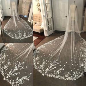 Veli da sposa da sposa lunghi 3 m con pizzo lungo appliquato bianco con cattedrale in avorio con pettine gratuito 2019
