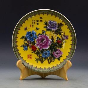 Piatto cinese della porcellana della pittura della mano della porcellana di Famille Rose w Qing Qianlong Mark