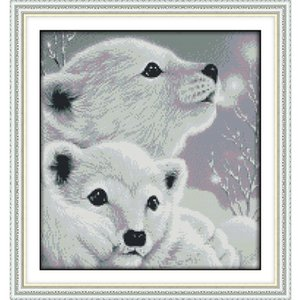 I due piccoli orsi polari Stampato su tela DMC Contato Kit per ricamo a punto croce cinese fai da te stampato ricamo a punto croce Ricamo ad ago