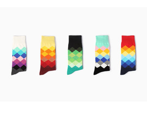 INS britannique Style de grille Hit chaussettes de couleur Hommes Petits garçons Sport long tube souple de haute qualité Happy Socks 6 couleurs 24pcs = 12pairs C00535-2
