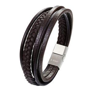 Genuine Leather di modo del braccialetto dell'acciaio inossidabile degli uomini braccialetti DIY corda intrecciata catena Por Maschio gioielli vintage Gifts Pulseira