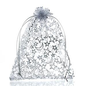 Mjartoria 200pcs Estrella Blanca Luna de organza Bolsa de joyería de moda las bolsas y embalaje en bolsas, bolsas para regalo de Navidad de la boda del lazo de bolsas de regalo