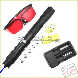 SDLasers Powerful SD821-C Adjustable Focus 450nm Blue Laser Pointer Laser Pen Visible Beam With 2*26650 Batteries + Charger +Safety Glasses