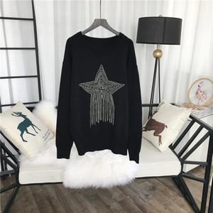 Milan Pist kadın Kazaklar 2018 Siyah Beş Köşeli yıldız kolye Püsküller Kazaklar Kadınlar Tasarımcı 927115