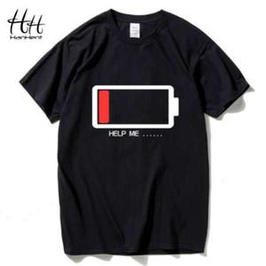 Hanhent Men T shirt Letters HELP ME Energy Low TShirt Male Battery Funny Cotton Tops Tees Boys 3D Fashion Summer Paried Tshirts