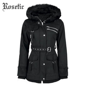 Wholesale- Rosetic Gothic Coat Vintage Women Black Casual Autumn Zippers Belt Hooded Trench Slim Outerwear Punk Streetwear Retro Goth Coats