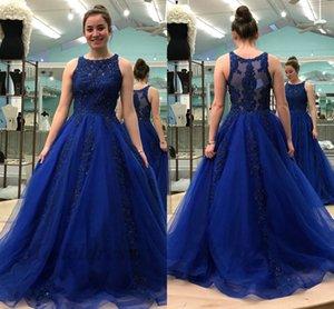 Kraliyet Mavi Gelinlik Modelleri A Hattı Sheer Dantel Aplikler Boncuk Çarpıcı Yüksek Kaliteli Tül Kızlar Pageant Elbise Özel Günler için