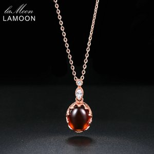 LAMOON 2018 New Oval Garnet Natural Gemstone Pendant Necklace 925 Sterling Silver Rose Gold Color Jewelry Women Wedding LMNI022Y1882701