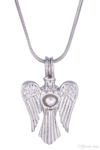 18kgp Göttin Perle / Kristall / Edelstein Bead Cage Medaillons, die Jungfrau Maria mit Angel Wings Stil Wunsch Anhänger für DIY Modeschmuck Charms P27
