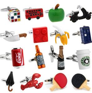Yenilik manşet düğmesi 18 stilleri seçenek kola sihirli küp chaplin tarzı takı tasarım kol düğmeleri abotoadura 2 pairs moda Noel hediyesi