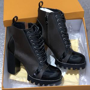 Últimas neve Botas Desert Bota senhoras robusto calcanhar botas de 100% impressão de couro genuíno de Inverno Sapatos Martin botas cinco centímetros 9,5 centímetros