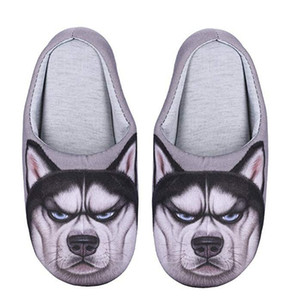Women 3D Cat Dog Warm Plush Indoor Slippers Cute Fluffy Girls Slippers Anti-Skid Slip-on Household Shoes Womens Mens Couple Slippers
