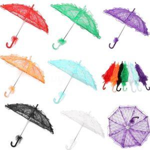 Bridal Lace Umbrella 11colors Elegant Wedding Parasol Lace Craft Umbrella 56*80cm For Show Party Decoration Photo Props Umbrellas GGA1093