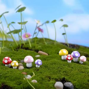 370pcs / lot Champignons Terrarium Figurines Fée Jardin Miniatures Partie Jardin Mini Champignon Jardin Ornement Résine Artisanat Décorations