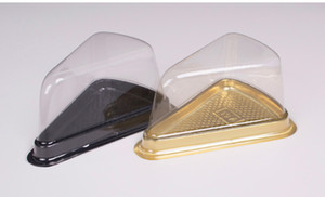 2 шт. = 1 компл. Одноразовые Пластиковые Прозрачный Треугольник Сыра Торт Коробки Десерт Пластиковые Поглотить Коробка Торта для Кондитерских Изделий