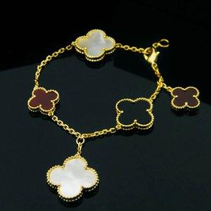 Титановая сталь изысканный Бальк белый браслет размер пять цветов клевера природных оболочки малахит агат Браслет для женщин лучший