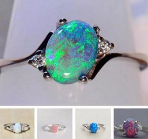 5 Renkler Büyük Taş Opal Yüzük Moda Kadınlar Solitaire Alyans Takı Hediyeler
