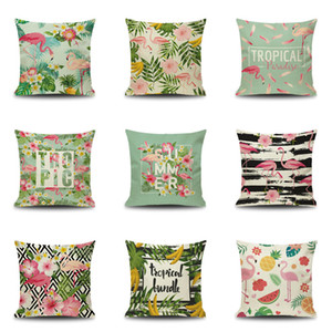 9 Stlye Cartoon Flamingo Style Pillow Case Colorful Birds Leaf Pillow Cover Cute Animal Printing Cushion Cover Kids Gift Free Shipping