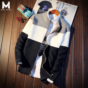 Autumn Men's New Personality Zipper Design Stitching Cotton Mens Sweaters Fashion Brand Casual Wild Long Sleeve Men Sweater