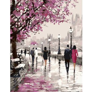 Wholesale-Frameless Cherry Blossoms Road Diy Oil Painting By Numbers Kits Wall Art Picture Home Decor Acrylic Paint On Canvas For Artwork