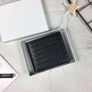 Portafogli da uomo in vera pelle intrecciata con porta carte di credito Portafoto Designer Uomo Borse da uomo all'ingrosso di alta qualità