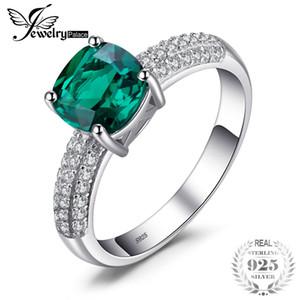 Toptan Yastık 1.8ct Oluşturulan Yeşil Zümrüt Solitaire Nişan Yüzüğü Saf 925 Ayar Gümüş Lüks Takı