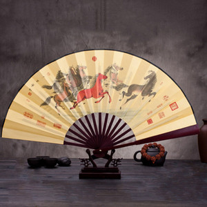 Estilo chinês Flor De Lótus Padrão de Bambu De Seda Dobrável Ventilador de Mão para Os Homens Do Vintage Dobrável de Bolso Fã Wedding Party Decor