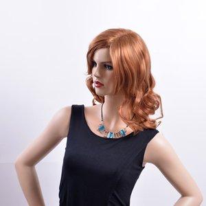 Auburn peruca de cabelo ondulado longo com lado se separaram peruca sintética peruca sintética para as mulheres peruca sintética resistente ao Calor para as mulheres