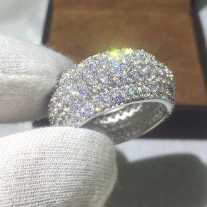 Anello Vecalon Luxury Women Pave set 320 pezzi Diamonique Cz oro giallo Filled 925 argento Anniversary anello per donna uomo