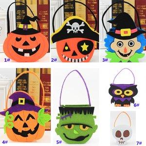 Zucca di Halloween pirata Cranio Candy Bag Basket Faccia Bambini Regalo Wrap Handhold Pouch Tote Bag Puntelli in tessuto Decorazione WX9-924