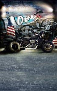 5x7ft винил граффити стены старинные черный мотоцикл открытый ретро живописный фон фотографии реквизит студия фон