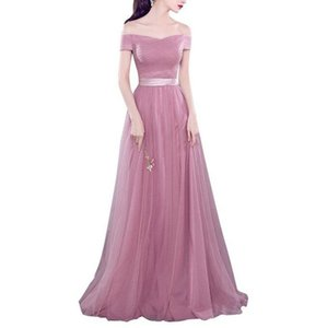 New Arrival Blush Pink Tulle Long Prom Dress A Line Women Evening Dresses Off Shoulder Girls Bridesmaid Dress Cheap Fashion 2019 Bridesmaid