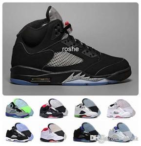 Novo Chaussures jordan retro 5 OG Preto Metálico Mens Tênis De Basquete Atacado de Alta Qualidade Genuíno Couro 5s Sneakers Eur Eur 41-47 EUA 8-13