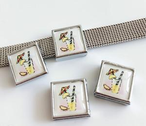 8 мм квадратный пластиковый сок печати слайд подвески бусины DIY аксессуары подходят 8 мм воротник ремни браслеты