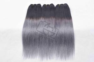 Ombre Color 1b / Grey Cabello liso Brasileño Cabello humano liso 3/4 paquetes