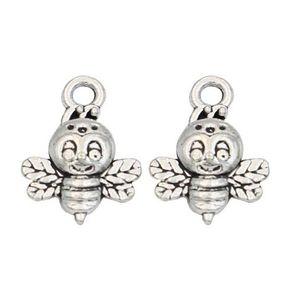 200 unids / lote Aleación de plata antigua de la abeja colgantes de los encantos para la joyería de bricolaje hacer hallazgos 16x12mm