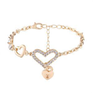 2018 doppio cuore ciondolo ciondolo braccialetto moda amore strass braccialetto gioielli di buona qualità di alta qualità per donna spedizione gratuita
